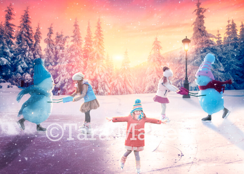 Snowmen Iceskating -Snowman Ice Skating - Snowpeople in Winter Snowy Scene- Separate Snow Overlay - Christmas Digital Background Backdrop