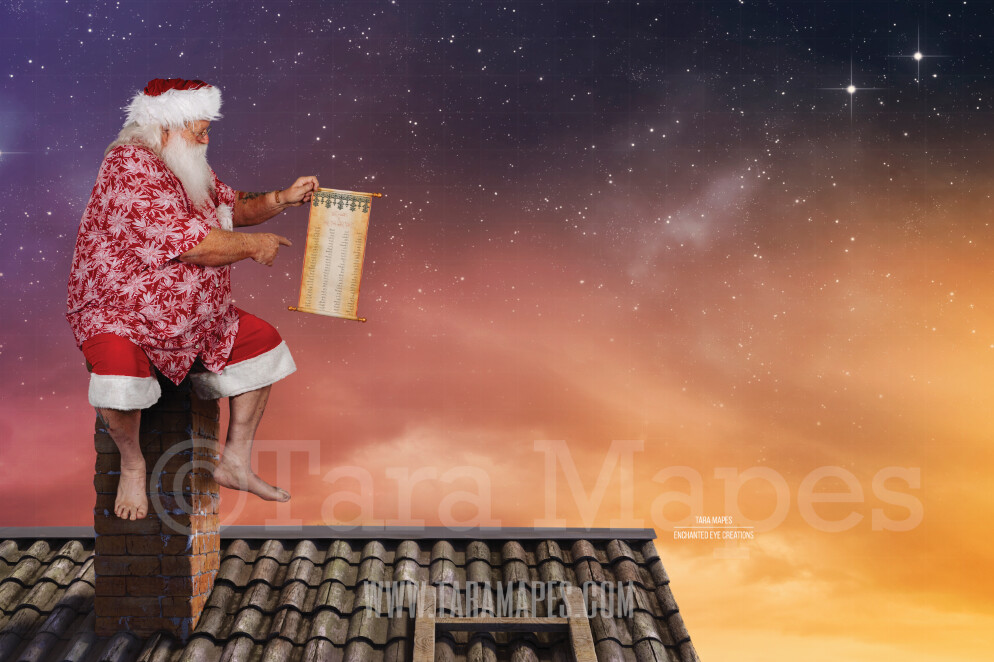 Beach Santa on Roof with Scroll - Beach Santa in Shorts and Hawaiian shirt - Good List Cozy Warm Christmas Holiday Digital Background Backdrop
