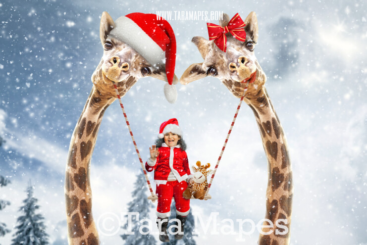 Christmas Giraffe Swing- Whimsical Pair of Giraffes - Giraffe Couple in Sky holding Swing FREE SNOW OVERLAY - Digital Background - Giraffe in Clouds Digital Background
