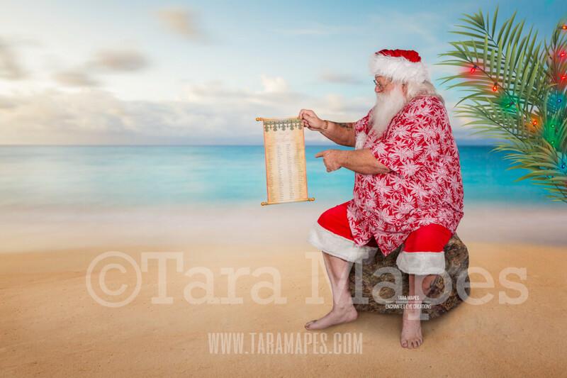 Beach Santa on Beach Rock with Scroll - Beach Santa in Shorts and Hawaiian shirt - Good List Cozy Warm Christmas Holiday Digital Background Backdrop