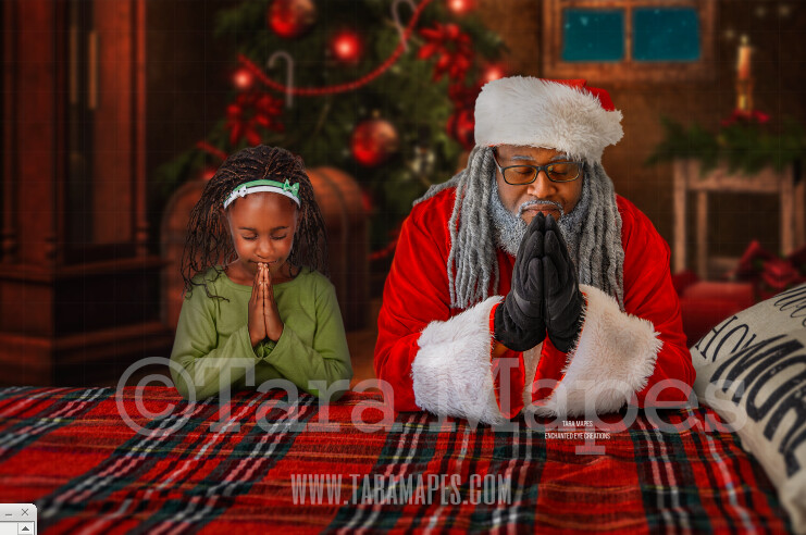 Black Santa Praying on Bed- Christmas Night Prayer- Cozy Christmas Holiday Digital Background Backdrop