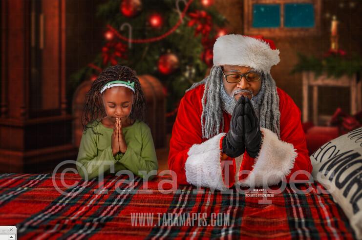 Black Santa Praying on Bed- Christmas Night Prayer- Cozy Christmas Holiday Digital Background Backdrop