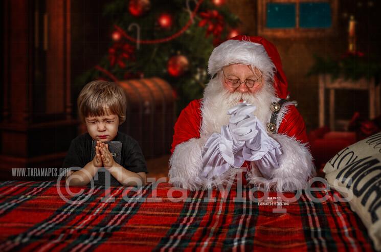 Santa Praying on Bed- Christmas Night Prayer- Cozy Christmas Holiday Digital Background Backdrop
