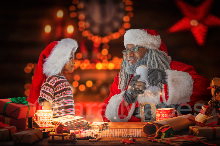 Black Santa's Workshop - Santa's Desk - LAYERED PSD! Santas Work Shop - Santa Letters - Holiday Christmas Digital Background / Backdrop