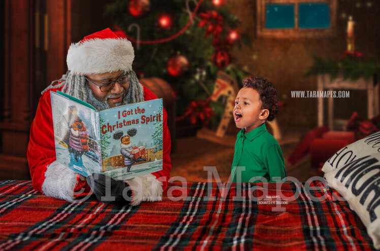Black Santa Reading on Bed- Christmas Bedtime Story- Cozy Christmas Holiday Digital Background Backdrop