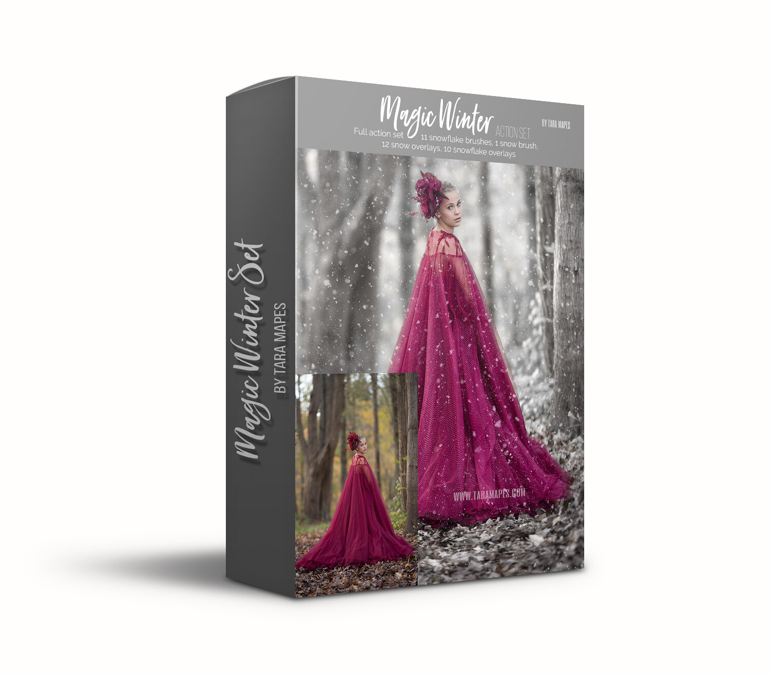 Magic Winter Action Set by Tara Mapes -  Winterize your image - Photoshop Action and Overlays for Winter Look - Demo tutorial in product description