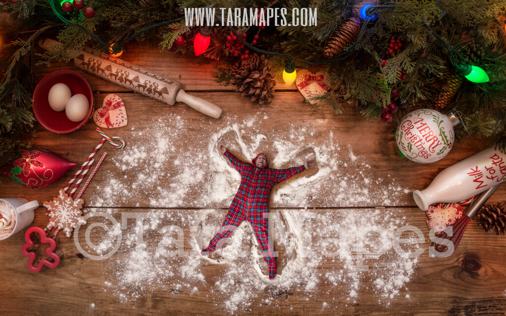 Christmas Cookies Flour Angels Christmas Digital Background for Kids on Cutting Board LAYERED PSD  - Christmas Card - Flour Angels - Christmas Cookie  - Christmas Digital Background