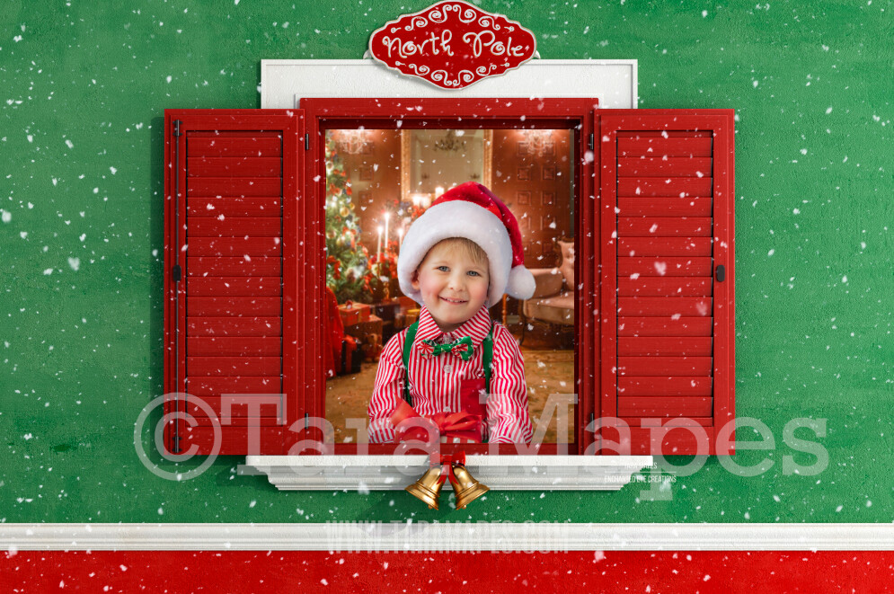 Santa's Workshop Window Layered PSD - Santa's Toyshop Digital Background  by Tara Mapes Enchanted Eye Creations