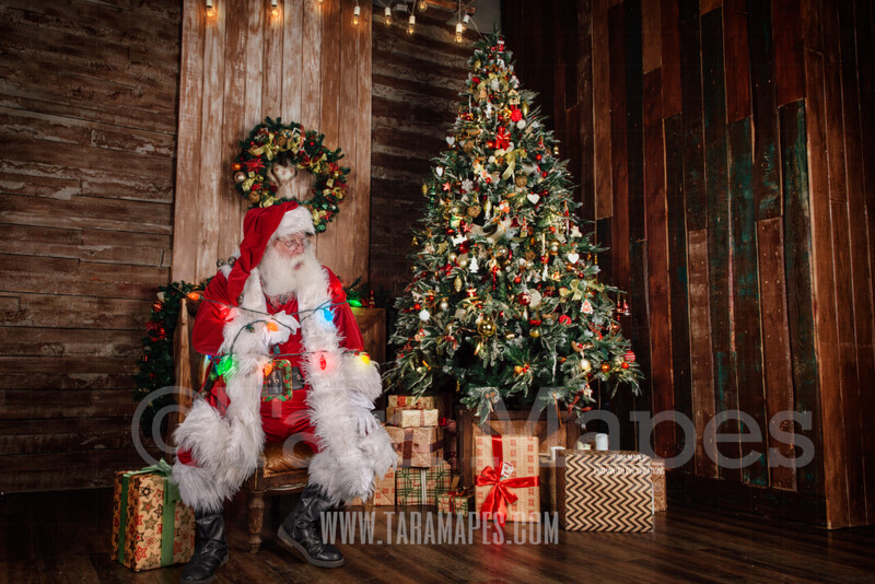 Santa Tied Up with Lights - Santa by Christmas Tree Tied Up - Funny Christmas Digital Background