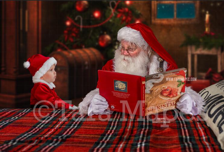 Santa Reading on Bed- Christmas Bedtime Story- Cozy Christmas Holiday Digital Background Backdrop