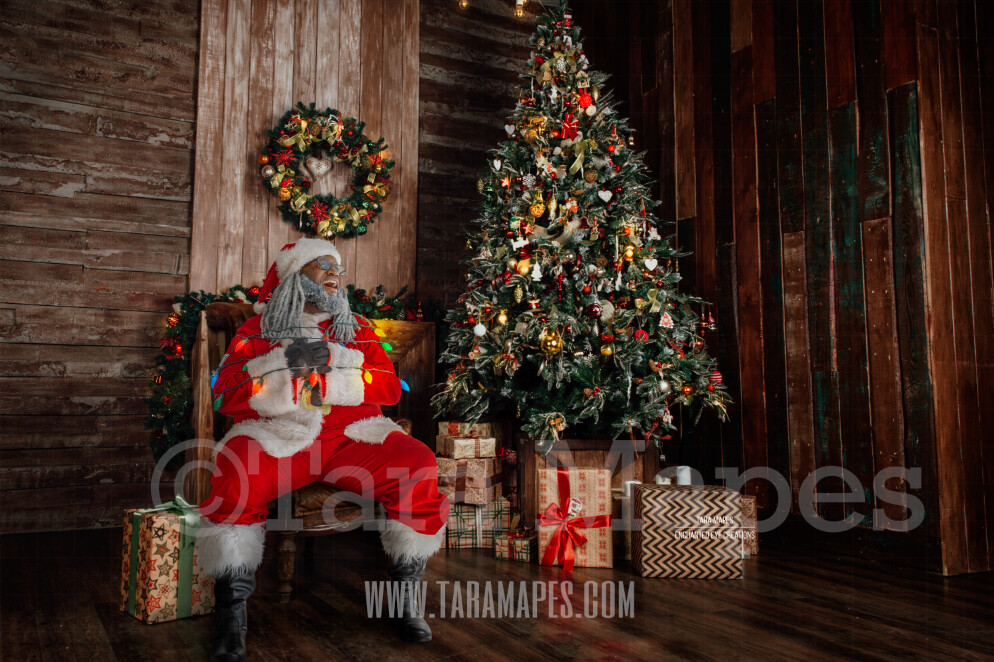 Black Santa Tied Up with Lights - Santa by Christmas Tree Tied Up - Funny Christmas Digital Background