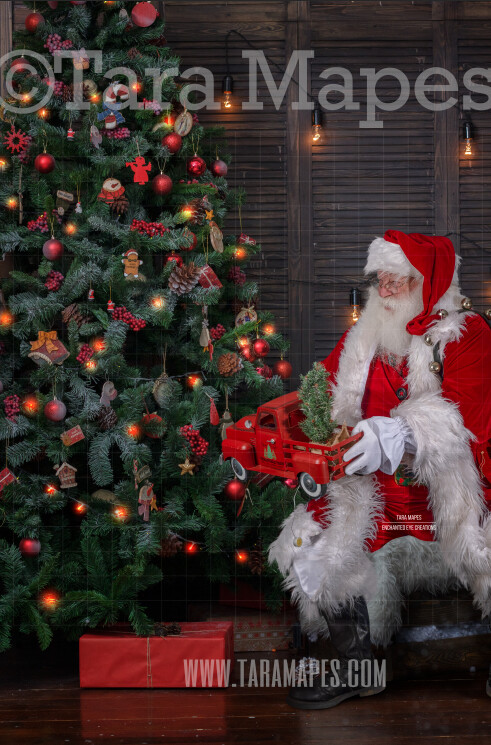 Santa Giving Toy Truck by Tree - Santa Gift - Holiday Christmas Digital Background