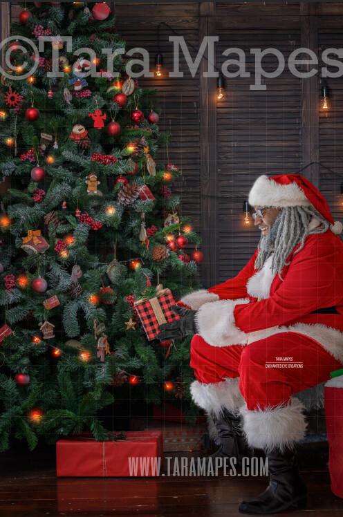 Black Santa Giving Gift by Tree - Santa Gift - Holiday Christmas Digital Background