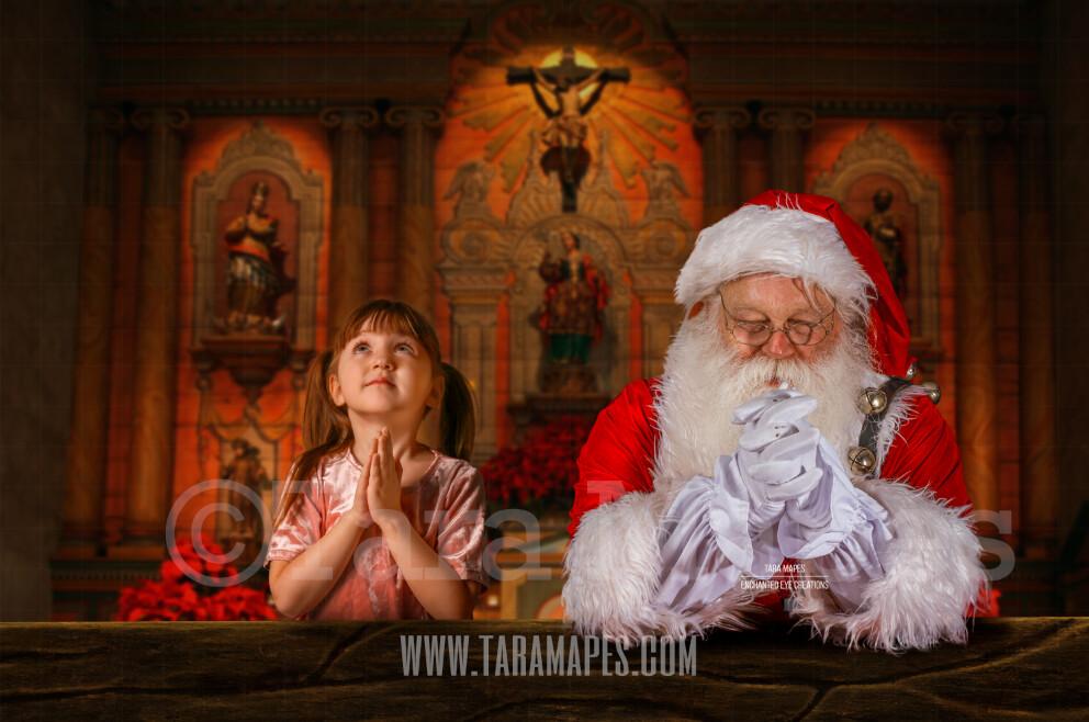 Santa Praying in Church - Christmas Night Prayer- Cozy Christmas Holiday Digital Background Backdrop