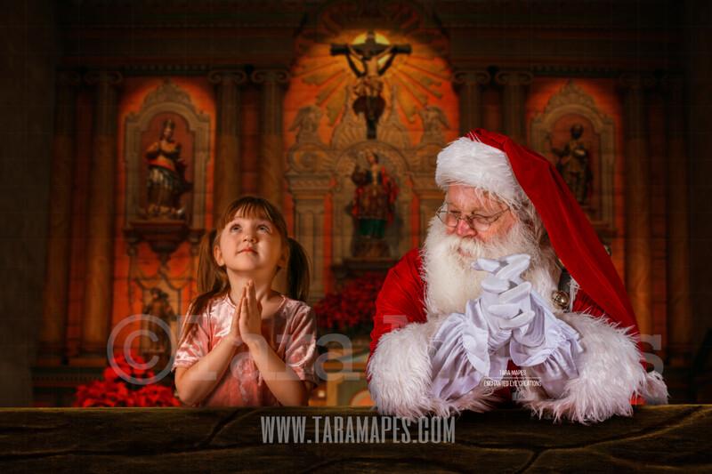 Santa Praying in Church 2 - Christmas Night Prayer- Cozy Christmas Holiday Digital Background Backdrop