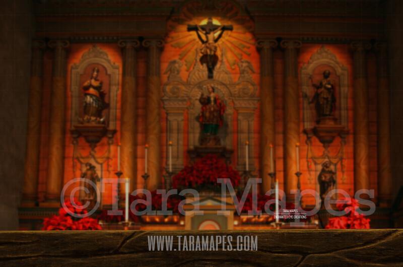 Christmas Church - Pew in Church - Christmas Night Prayer- Cozy Christmas Holiday Digital Background Backdrop
