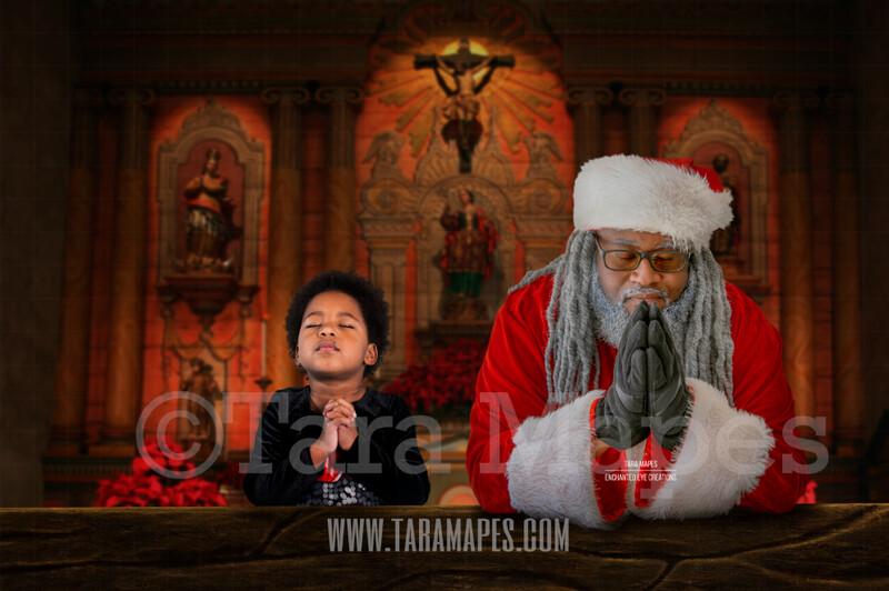 Black Santa Praying in Church - Christmas Night Prayer- Cozy Christmas Holiday Digital Background Backdrop
