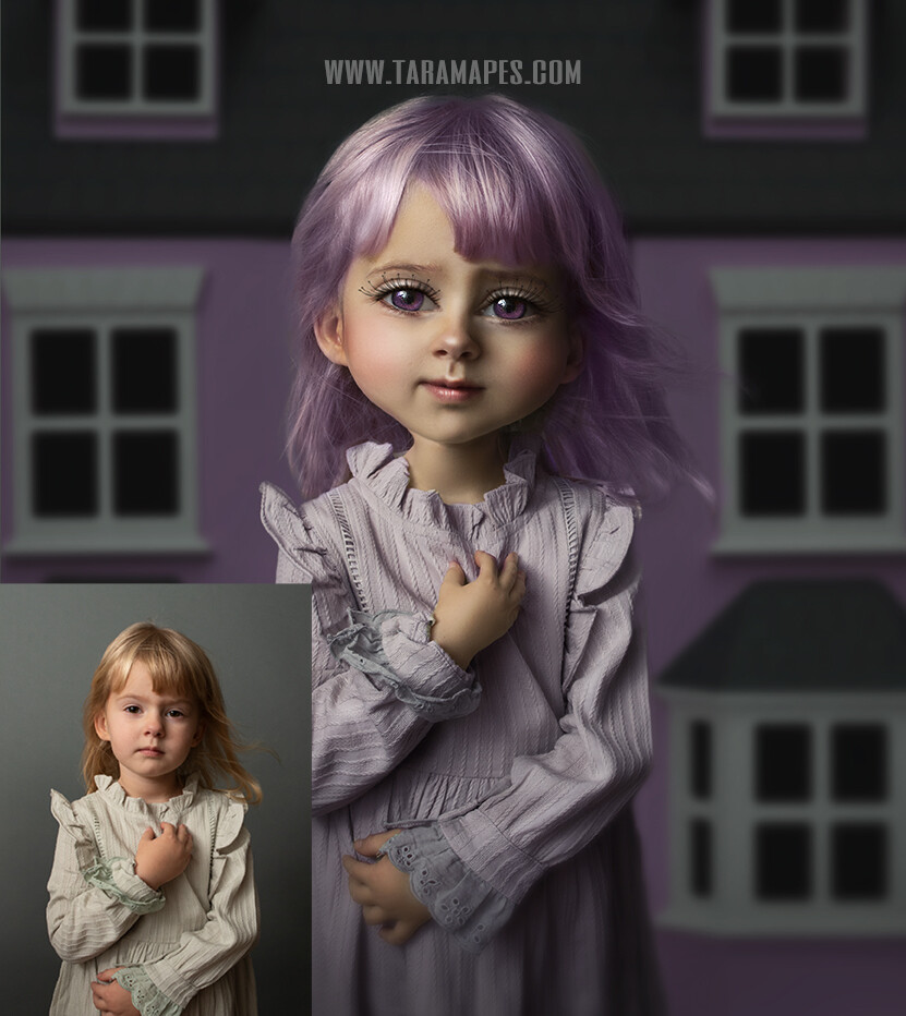 The Doll Caricature Tutorial by Tara Mapes - Photomanipulation Cartoon and Surreal Editing Tutorial