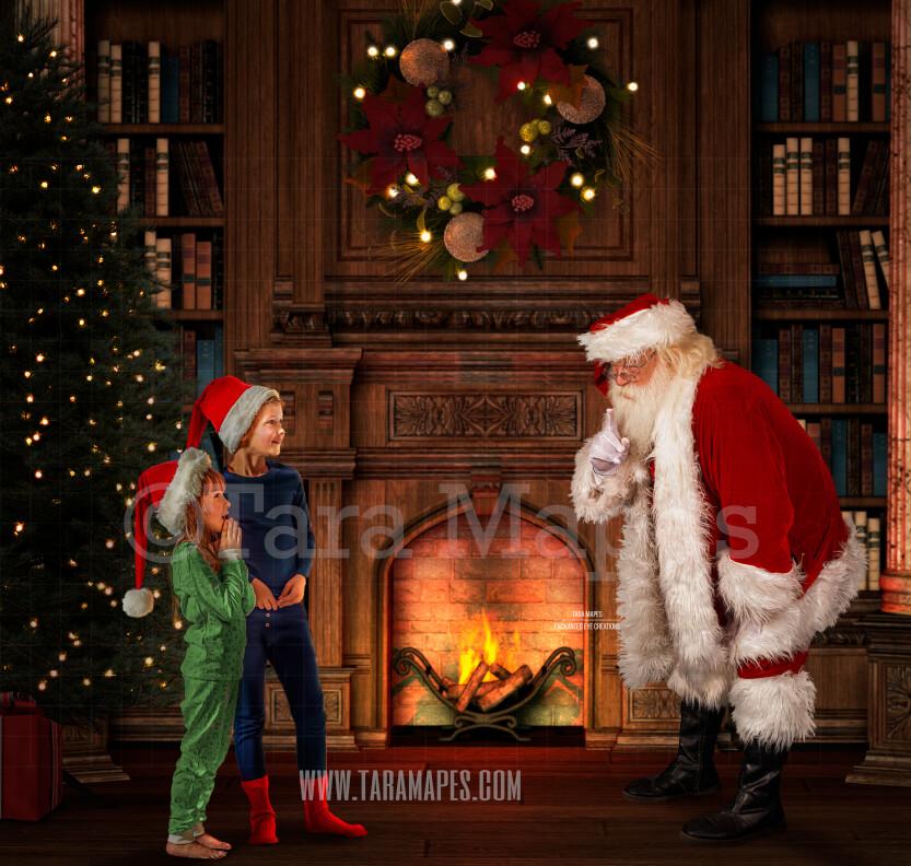 Santa Saying Shh Christmas Night- Santa by Fireplace - Santa Catching Children Scene - Cozy Christmas Holiday Digital Background Backdrop