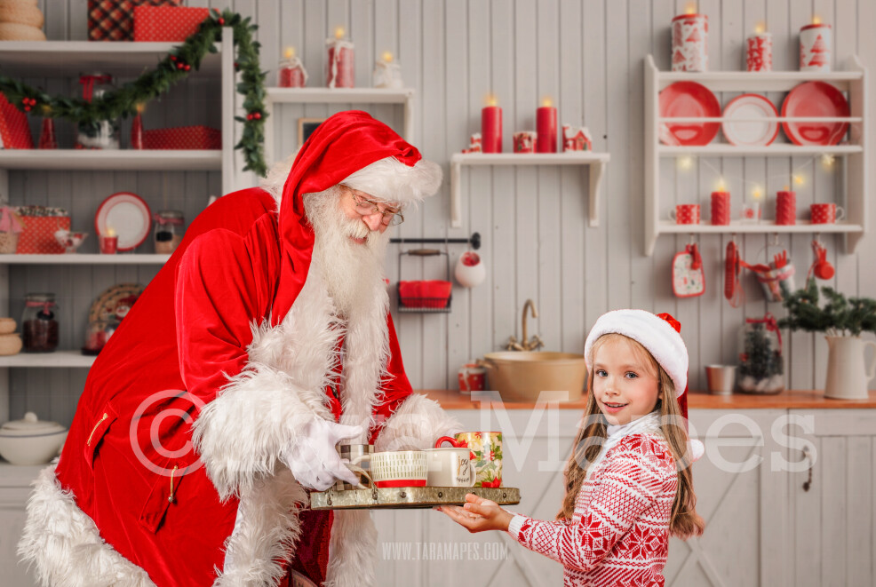 Santa with Tray of Hot Chocolate - Santa with Hot Cocoa - Santa in the Kitchen - Cozy Christmas Holiday Digital Background Backdrop