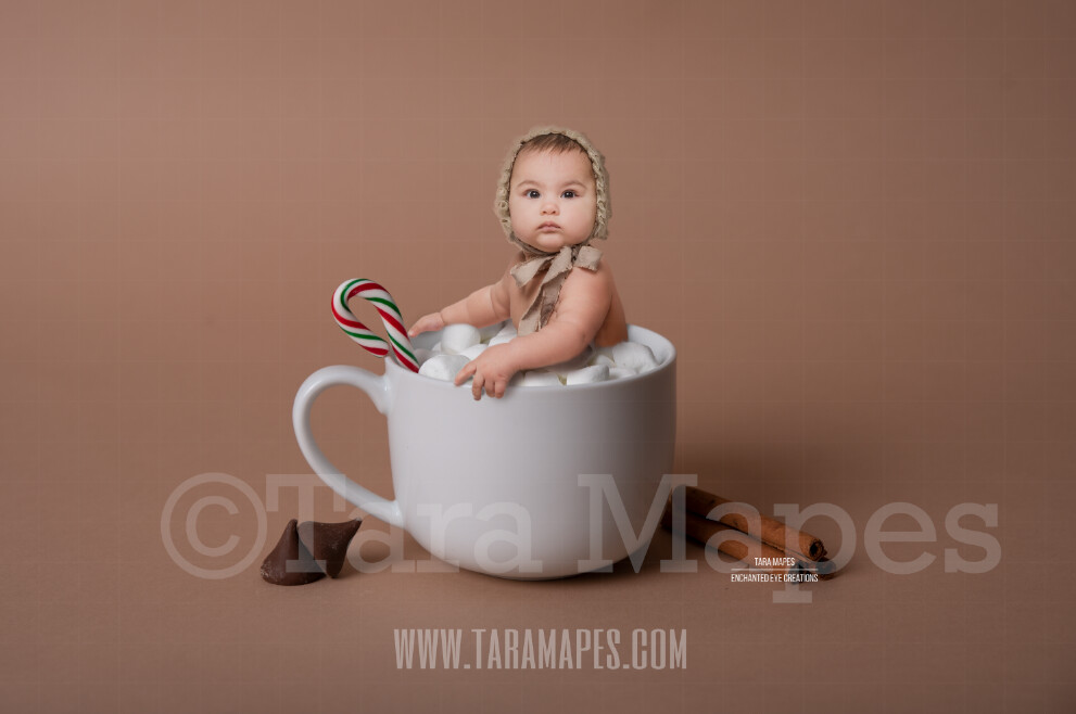 Hot Chocolate Bath Christmas Mug with Marshmallows - Cup of Hot Chocolate - Hot Cocoa Mug for Baby Scene