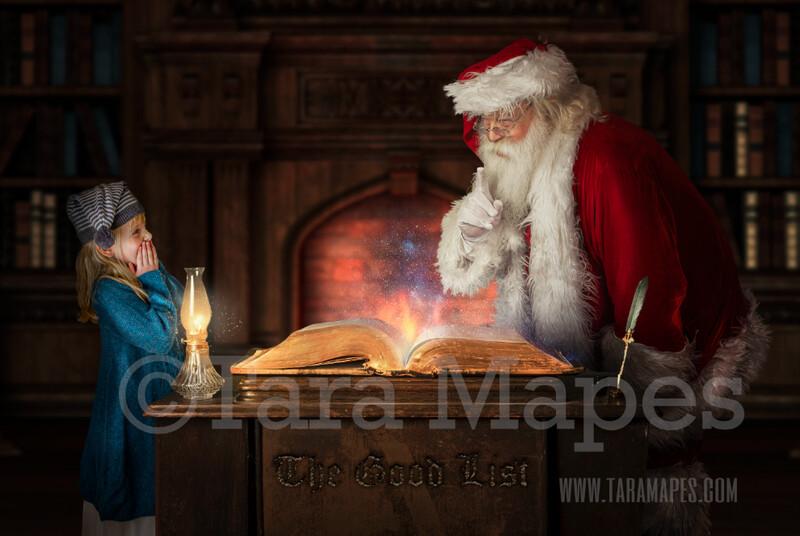 Christmas Digital Background - Santa's Good List Digital Background by Tara Mapes - LAYERED PSD!