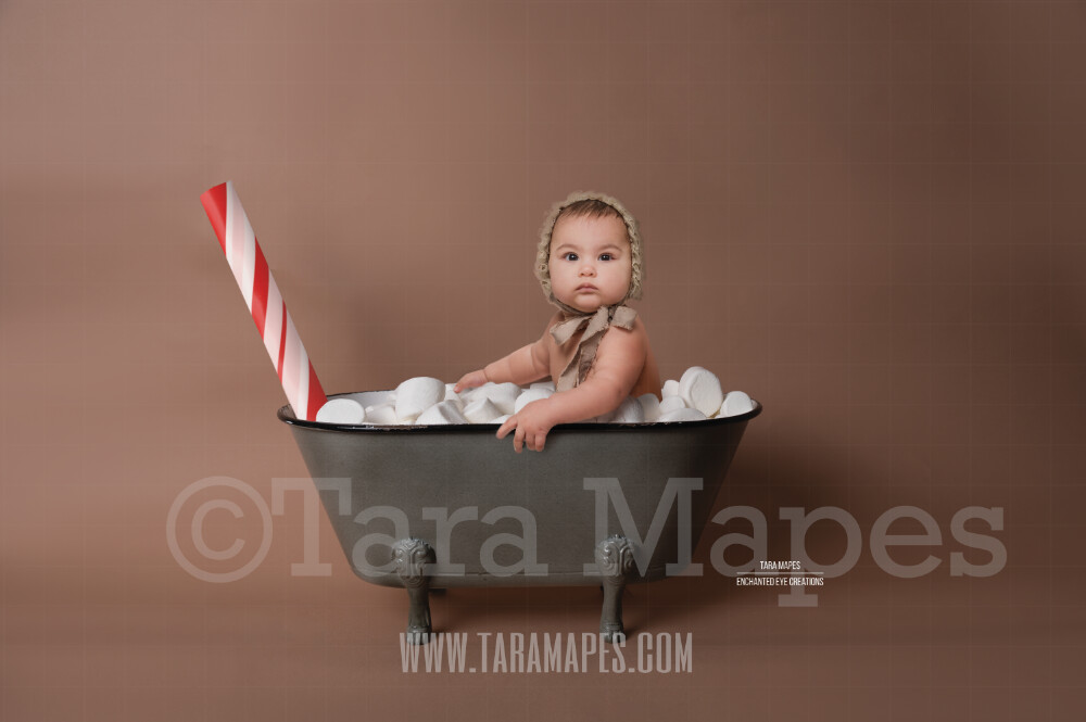Hot Chocolate Tub with Marshmallows and Peppermint Stick - Mug Tub of Hot Chocolate - Hot Cocoa Mug for Baby Scene