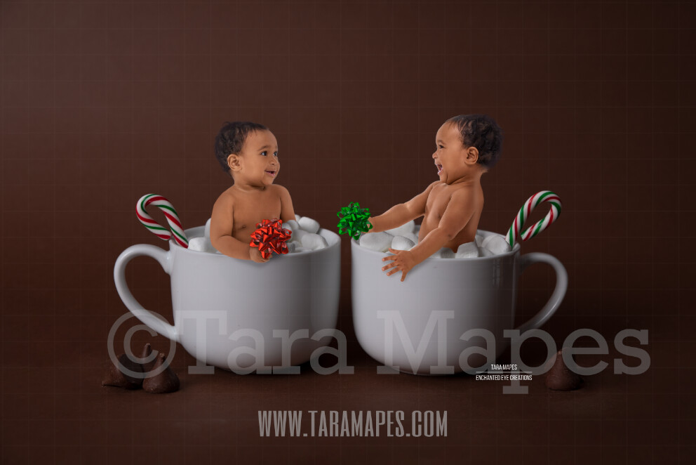 Christmas Mugs with Marshmallows - Twin Mugs on Brown- Two Cups of Hot Chocolate - Hot Cocoa Mug for Baby Scene