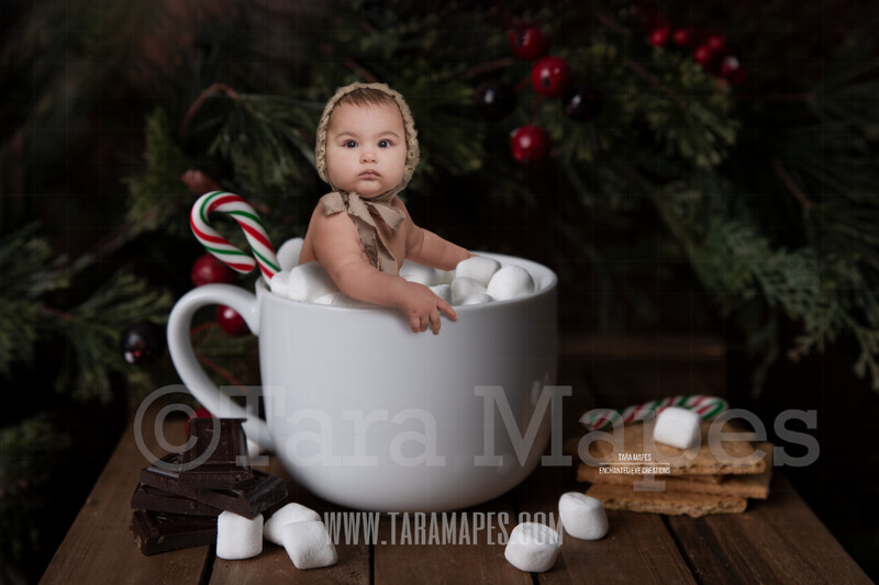 Christmas Mug with Marshmallows - Cup of Hot Chocolate Pines & Holly - Hot Cocoa Mug for Baby Scene