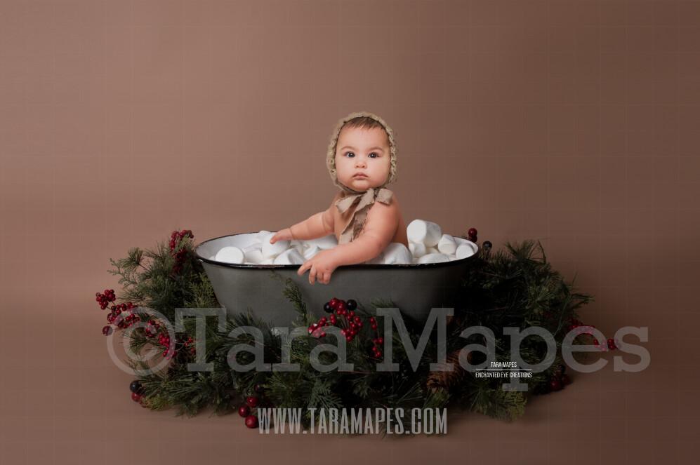 Hot Chocolate Tub with Marshmallows and Pines - Mug Tub of Hot Chocolate - Hot Cocoa Mug for Baby Scene