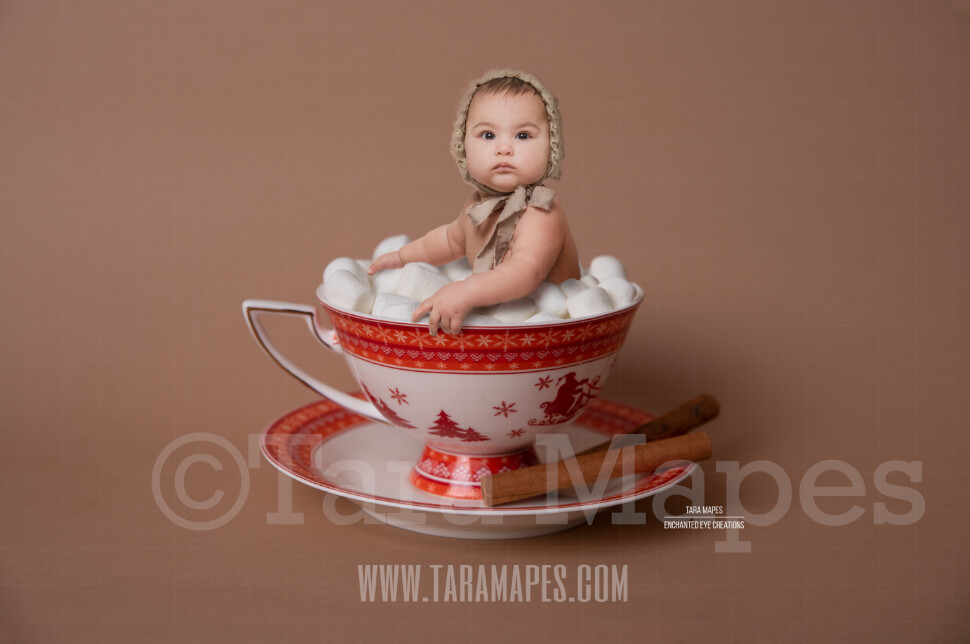 Hot Chocolate Bath Christmas Mug with Marshmallows - Red Cup of Hot Chocolate - Hot Cocoa Mug for Baby Scene