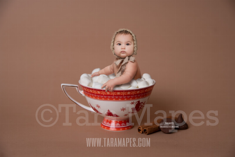 Hot Chocolate Bath Christmas Mug with Marshmallows - Red Cup of Hot Chocolate - Hot Cocoa Mug for Baby Scene