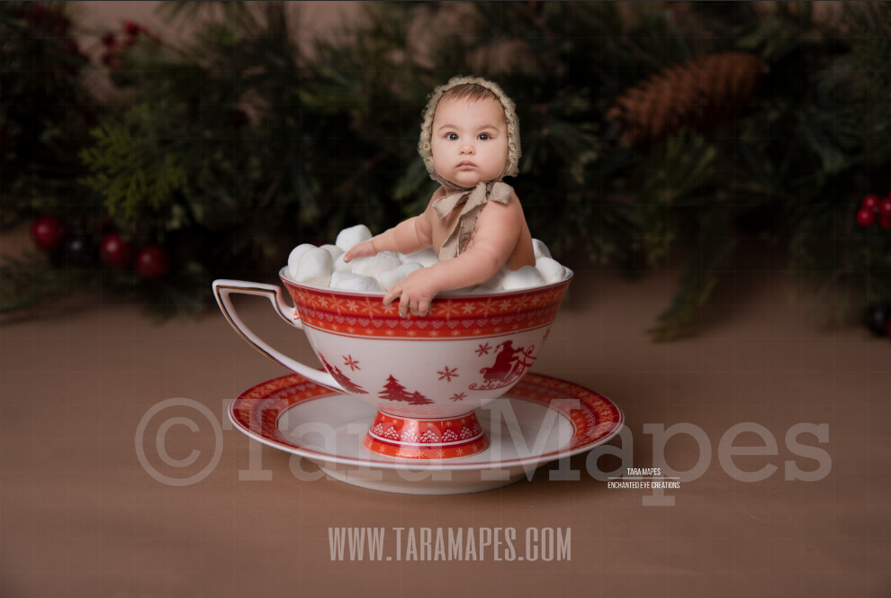 Hot Chocolate Bath Christmas Mug with Marshmallows - Red Cup of Hot Chocolate with Pines - Hot Cocoa Mug for Baby Scene