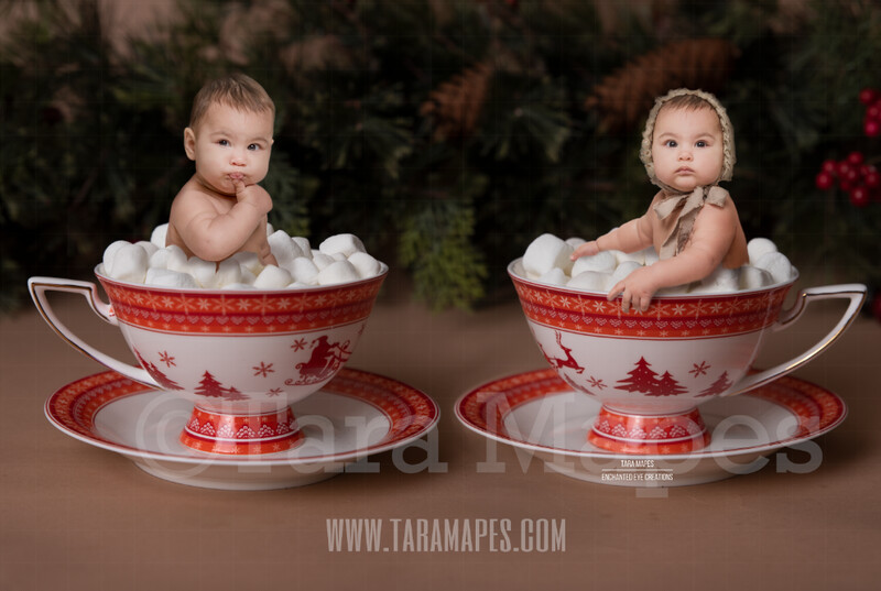 Hot Chocolate Bath Red Christmas Mugs of Hot Chocolate with Marshmallows - Twin Mugs - Two Cups of Hot Chocolate - Hot Cocoa Mug for Baby Scene
