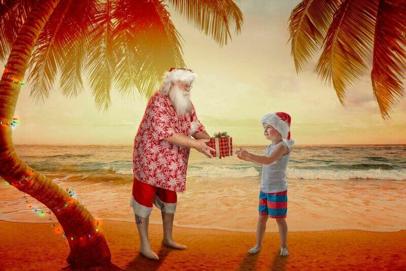 Beach Santa on Beach at Sunset Santa by Palm Tree with Lights- Beach Santa in Shorts and Hawaiian shirt - Beach Santa with Gift - Cozy Warm Christmas Holiday Digital Background Backdrop