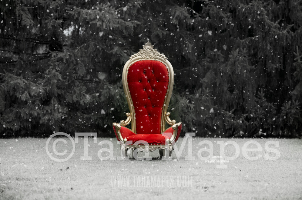 Christmas Throne with Free Snow Overlay - Santa's Chair by Pine Trees - Outdoor Christmas Holiday Digital Background Backdrop
