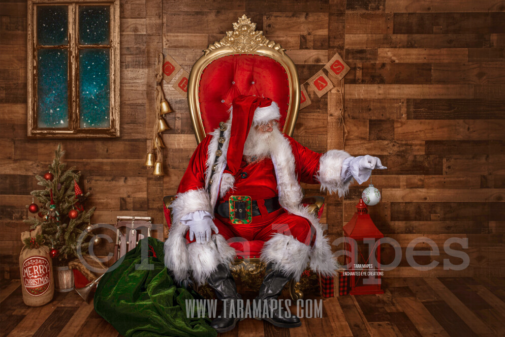 Storybook Santa in Throne - Storybook Santa with Ornament - Cozy Christmas Holiday Digital Background Backdrop