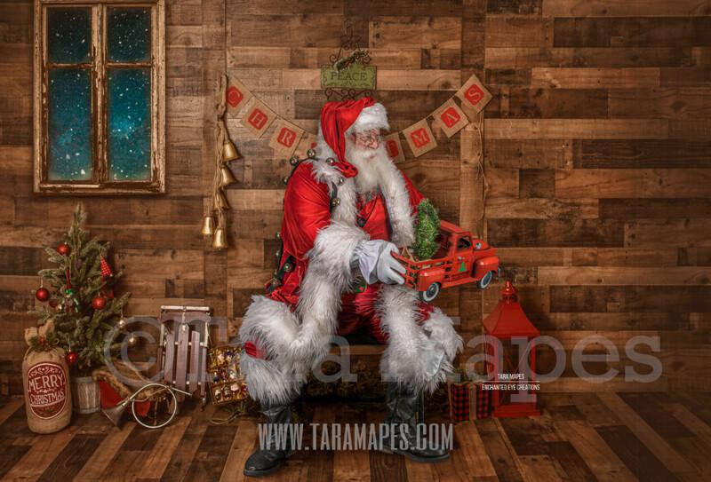 Storybook Santa with Vintage Truck - Storybook Santa Painterly- Cozy Christmas Holiday Digital Background Backdrop