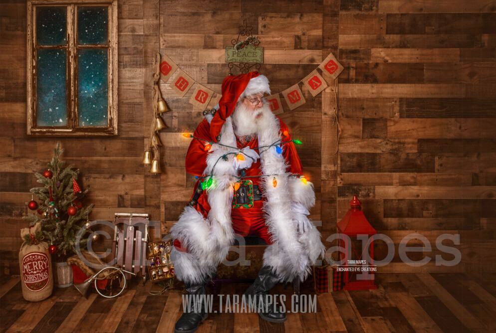 Storybook Santa Tied up in Lights - Storybook Santa Funny - Cozy Christmas Holiday Digital Background Backdrop