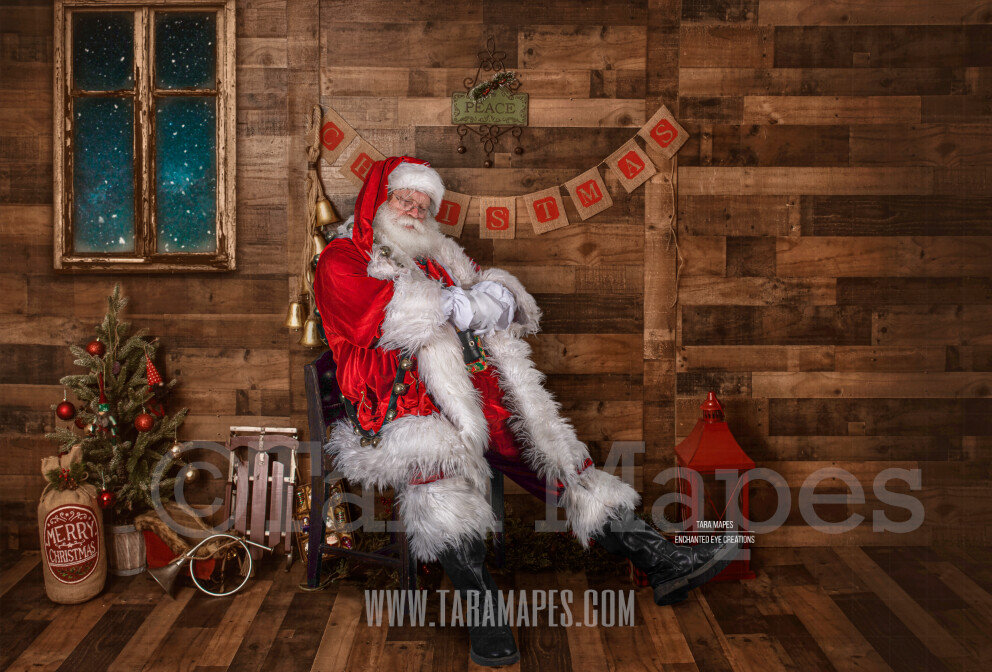 Storybook Santa Asleep - Storybook Santa Painterly- Cozy Christmas Holiday Digital Background Backdrop