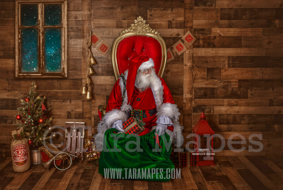 Storybook Santa Asleep - Storybook Santa Painterly- Cozy Christmas Holiday Digital Background Backdrop