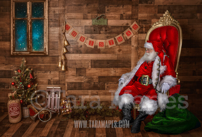 Storybook Santa in Throne - Storybook Santa Painterly- Cozy Christmas Holiday Digital Background Backdrop