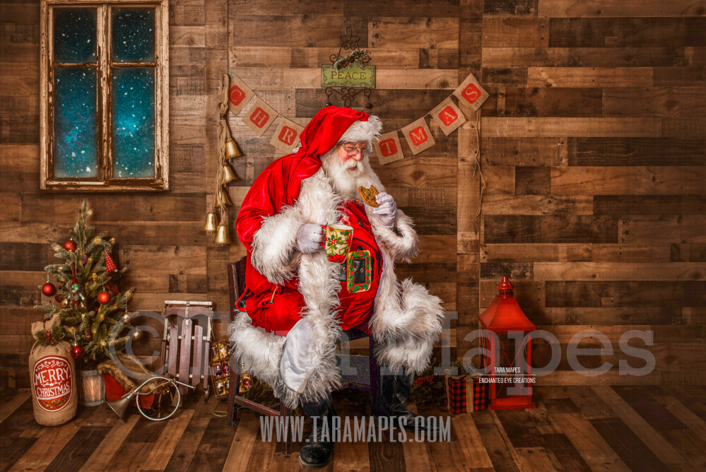 Storybook Santa with Cookie and Cup of Cocoa - Storybook Santa Painterly- Cozy Christmas Holiday Digital Background Backdrop