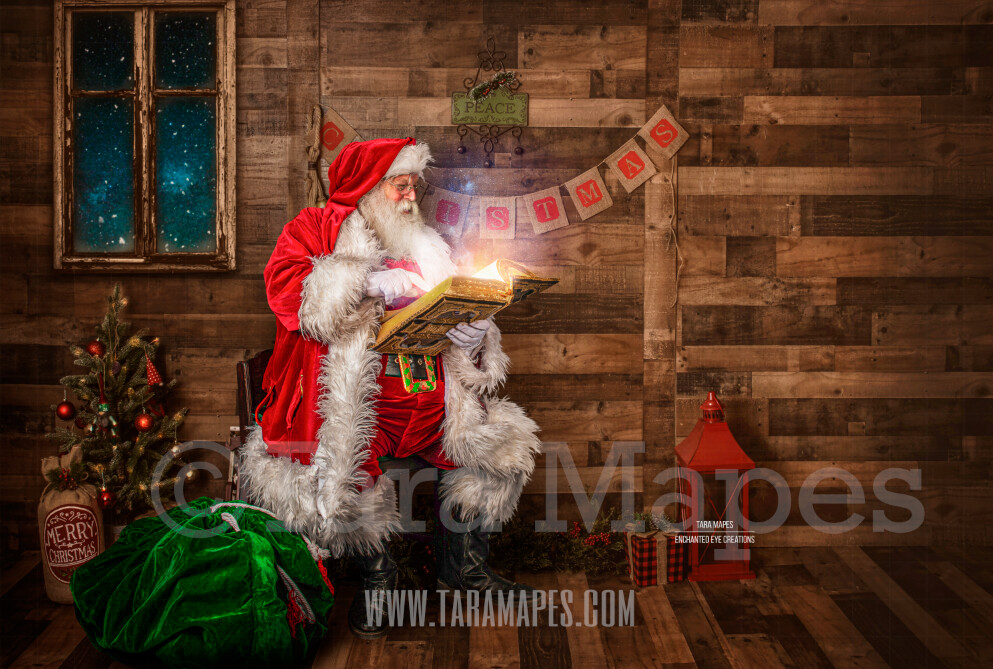 Storybook Santa Reading Magic Book - Storybook Santa Painterly- Cozy Christmas Holiday Digital Background Backdrop