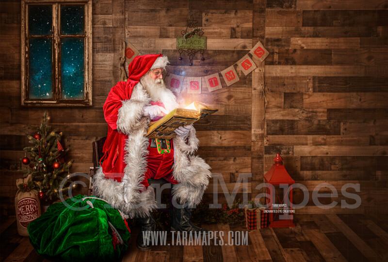 Storybook Santa Reading Magic Book - Storybook Santa Painterly- Cozy Christmas Holiday Digital Background Backdrop