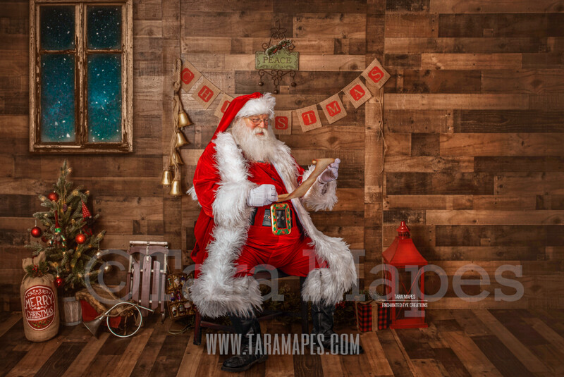 Storybook Santa with Scroll - Storybook Santa Painterly- Cozy Christmas Holiday Digital Background Backdrop