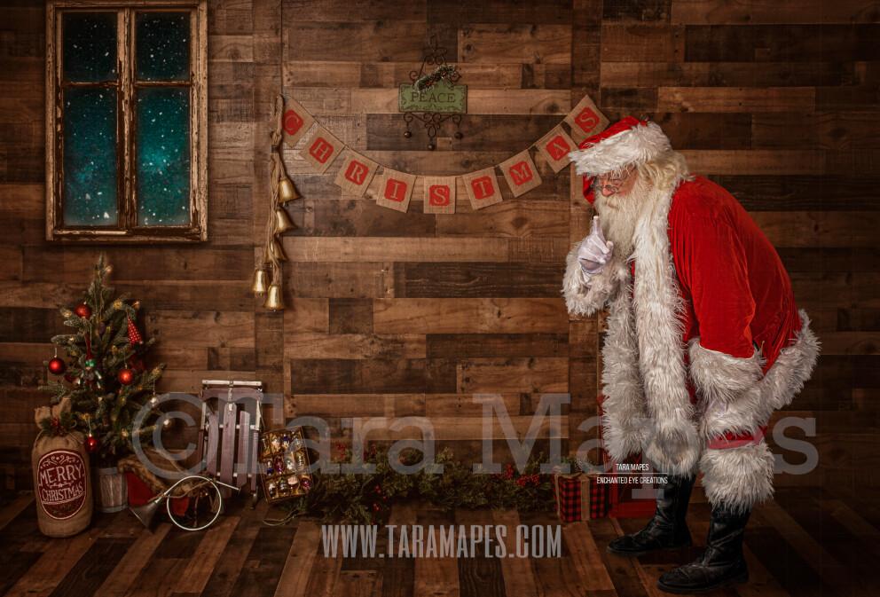 Storybook Santa Saying Shhh - Storybook Santa Painterly- Cozy Christmas Holiday Digital Background Backdrop
