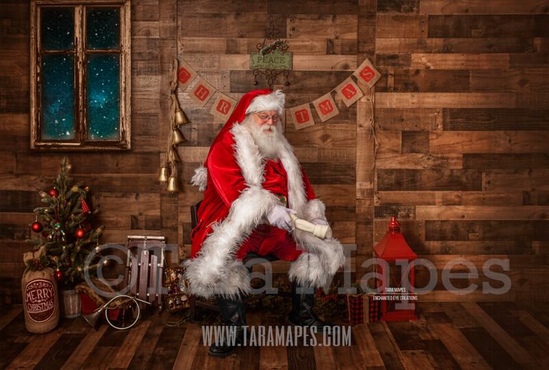 Storybook Santa with Dog Bone - Storybook Santa Painterly- Cozy Christmas Holiday Digital Background Backdrop