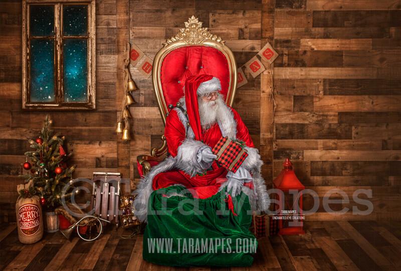Storybook Santa with Gift - Storybook Santa Painterly- Cozy Christmas Holiday Digital Background Backdrop