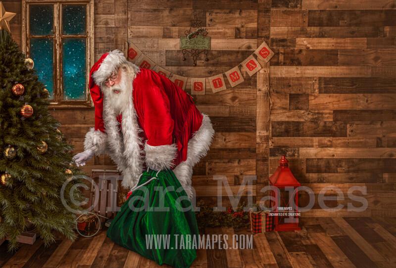 Storybook Santa Caught by Tree - Storybook Santa Painterly- Cozy Christmas Holiday Digital Background Backdrop